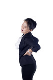 Business woman with back pain isolated white background,