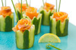 Salmon and cucumber appetizer.