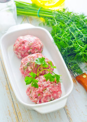 Raw meat balls in the white bowl