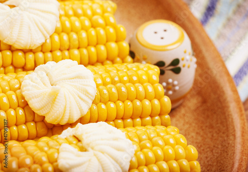 Tasty boiled corncob