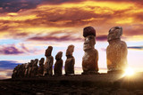 Standing moai in Easter Island at sunrise
