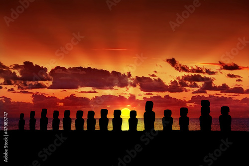 Fifteen moai at sunset in Easter Island