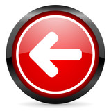 arrow left round red glossy icon on white background