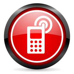 cellphone round red glossy icon on white background