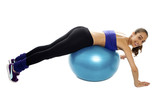 Woman lying over swiss ball to strengthen her abdomen poster