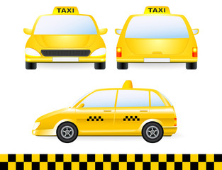 set of isolated taxi car silhouette