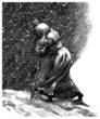 Poor Woman - Snowy Night - 19th century