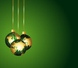 Global ornaments. Green and gold festive background.