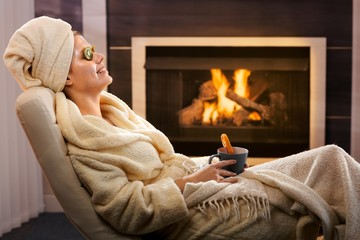Winter relaxation with face pack and tea