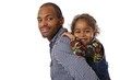 Handsome ethnic father and little girl piggyback