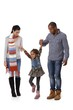 Happy family with little girl walking