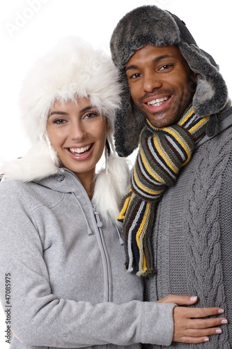 Winter portrait of happy couple