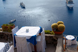 Table on the cliff above the sea