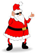 Funny fat Santa Claus showing thumb up