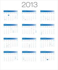 calendar | calendrier bilingual 2013 moon_blue EN+FR