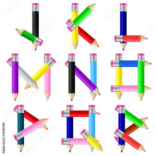pencils letter J-R