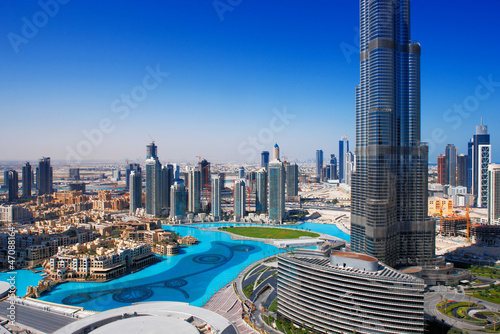 Fotobehang Midden Oosten Downtown Dubai is a popular place for shopping and sightseeing