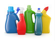 Plastic detergent bottles. Cleaning products.