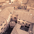 Aerial view background, italian medieval city architecture. Ital
