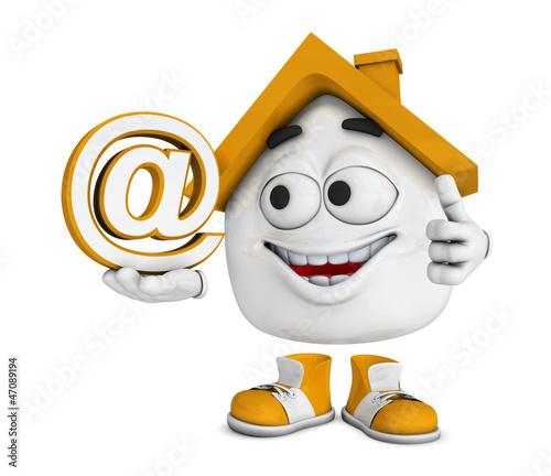 Kleines 3D Haus Orange - At Symbol