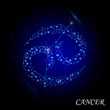 Sign of the zodiac - Cancer. Composed of stars.