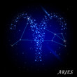 Sign of the zodiac - Aries. Composed of stars.