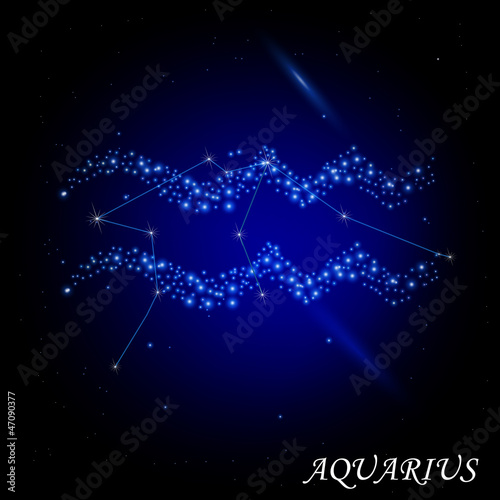 Sign of the Zodiac - Aquarius. Composed of stars.