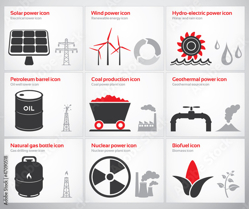 Energy symbols and icons