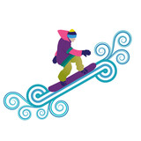 Snowboarder jumping through air
