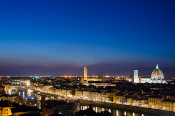 Duomo, Palazzo vecchio and Arno river, Florence, Italy
