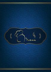 Blue restaurant menu cover