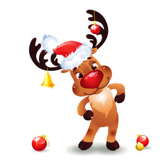 Cute Santa Reindeer with Bow Bell and hat of Santa Claus