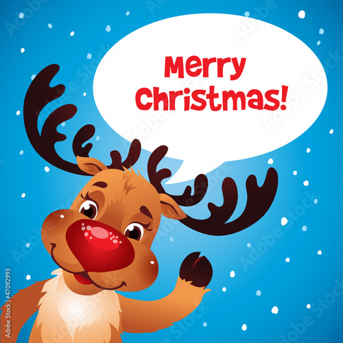 Christmas reindeer red nose speech bubble