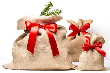 3 Weihnachtssäcke mit Tannenzweig