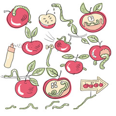 worms and apples
