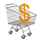 Gold dollar sign in the supermarket cart