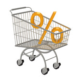 Shopping cart with percent. Isolated on white.