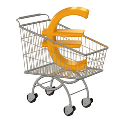 Gold sign Euro in supermarket cart.