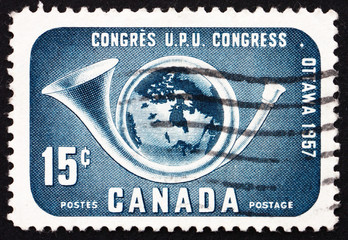 Postage stamp Canada 1957 Post Horn and Globe