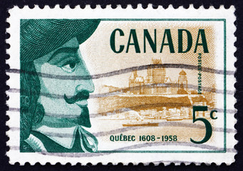 Postage stamp Canada 1958 Champlain and View of Quebec