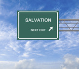 Road sign to salvation poster