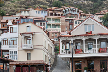 Wooden balconies in Tbilisi.