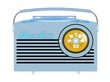 fifties transistor radio  over white