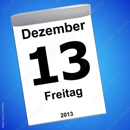 Leinwandbild Motiv Kalender auf blau - 13.12.2013