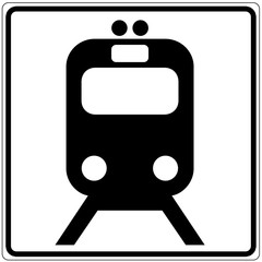 Schild weiß - Bahn