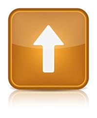 Orange glossy internet button with arrow upload symbol.