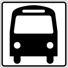 Schild weiß - Bus