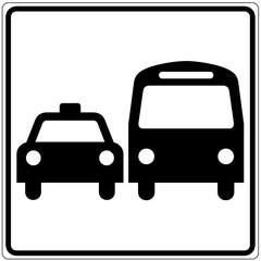 Schild weiß - öffentliche Verkehrsmittel