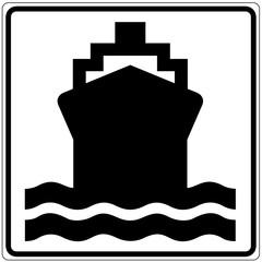 Schild weiß - Wasserverkehr
