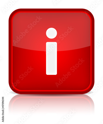 Red glossy web button with information sign.